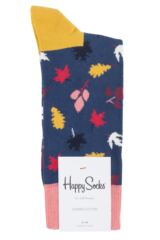 Mens and Ladies 1 Pair Happy Socks Fall Autumn Combed Cotton Socks Packaging Image