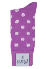 Ladies 1 Pair Corgi Fine Gauge Cotton Daisy Patterned Socks Product Shot
