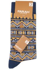 Mens 1 Pair Farah Vintage Tribal Patterned Cotton Socks Packaging Image