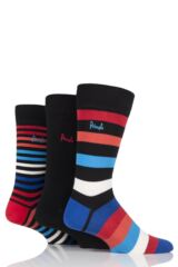 Mens 3 Pair Pringle Gift Boxed Broad Stripe and Plain Cotton Socks