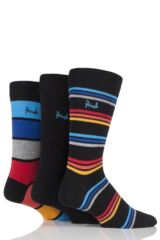 Mens 3 Pair Pringle Gift Boxed Mixed Stripe and Plain Cotton Socks