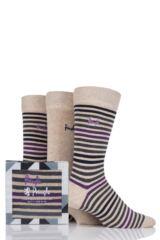 Mens 3 Pair Pringle Kirkwall Stripe and Plain Cotton Socks In Gift Box