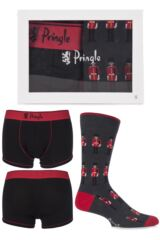 Mens 2 Pack Pringle Gift Boxed Plain Boxer Shorts and Guardsman Novelty Socks
