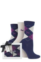 Ladies 3 Pair Pringle Gift Boxed Louise Argyle Cotton Socks