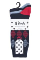 Mens 3 Pair Pringle Argyle and Plain Gift Labelled Cotton Socks Packaging Image