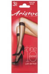 Ladies 3 Pair Aristoc 10 Denier Ultra Shine Knee Highs Product Shot