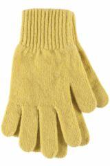 Ladies 1 Pair Great & British Knitwear Made In Scotland 100% Cashmere Plain Gloves In Green