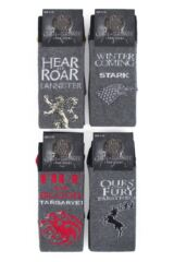 SOCKSHOP 4 Pair Game of Thrones Houses Targaryen, Stark, Lannister and Baratheon Socks Packaging Image