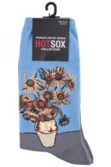 Ladies 1 Pair HotSox Artist Collection Sunflowers Cotton Socks Packaging Image