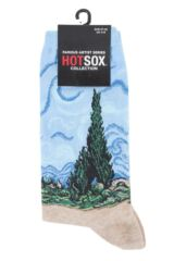 Ladies 1 Pair HotSox Artist Collection A Wheatfield with Cypresses Cotton Socks Packaging Image