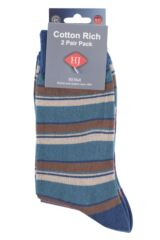 Mens 2 Pair HJ Hall Generation V Cotton Boscastle Striped Socks Packaging Image