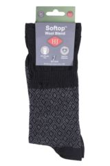 Mens 1 Pair HJ Hall Mosaic Wool Blend Softop Socks Product Shot