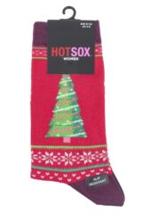 Ladies 1 Pair HotSox Christmas Tree Cotton Socks Packaging Image