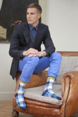 Mens 1 Pair Bjorn Borg Black and Blue Chequered Cotton Socks 33% OFF