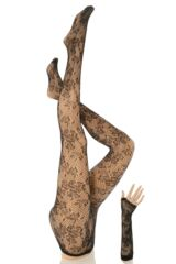 Ladies 1 Pair Silky Party Tights and Arm Length Gloves - Tango Floral Fishnet