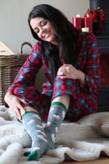 Ladies 1 Pair SockShop Christmas Pudding Slipper Socks
