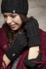 Ladies 1 Pair Heat Holders 2.3 Tog Heatweaver Yarn Gloves In Black