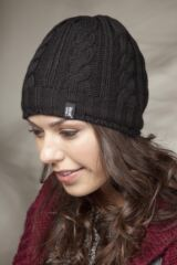 Ladies 1 Pack Heat Holders 3.4 Tog Heatweaver Yarn Hat In Black