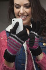 Ladies 1 Pair Isotoner Smartouch Chunky Knit Stripe Gloves 50% OFF