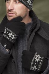 Mens 1 Pair Heat Holders 2.3 Tog Fairisle Gloves In Black Leading Image