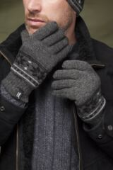 Mens 1 Pair Heat Holders 2.3 Tog Fairisle Gloves In Grey Leading Image