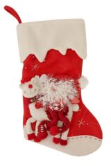 SockShop Christmas Stocking With Embroidered Father Christmas and Reindeer Design