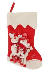 SockShop Christmas Stocking With Embroidered Snowman & Reindeer Design