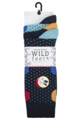 Mens 3 Pair SOCKSHOP Wild Feet Bamboo Large and Small Dots Socks Packaging Image