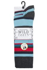 Mens 3 Pair SOCKSHOP Wild Feet Bamboo Multi Stripe Socks Packaging Image
