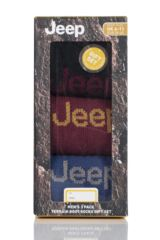 Mens 3 Pair Jeep Ribbed Cotton Boot Socks In Gift Box Product Shot