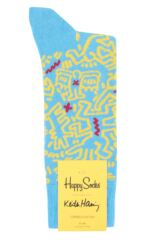 Mens and Ladies 1 Pair Happy Socks Keith Haring Untitled Socks Packaging Image