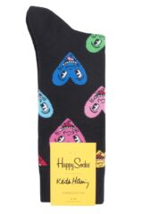 Mens and Ladies 1 Pair Happy Socks Keith Haring Heart Socks Packaging Image