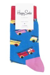 Boys & Girls 1 Pair Happy Socks Fire Truck Cotton Socks Packaging Image
