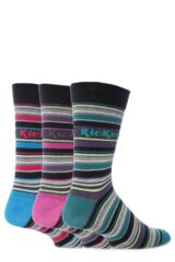 Mens 3 Pair Kickers Bastille Multi Stripe Socks 33% OFF