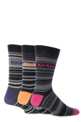 Mens 3 Pair Kickers Bordeaux Multi Stripe Socks 33% OFF