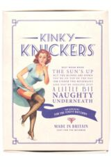 Ladies 1 Pair Kinky Knickers Nottingham Lace High Leg Knicker In Black and Oyster Packaging Image