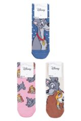 Ladies 3 Pair SOCKSHOP Disney The Lady and the Tramp Cotton Socks Packaging Image