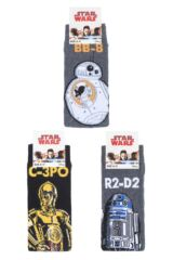 Mens SOCKSHOP 3 Pair Star Wars R2-D2, C-3PO and BB-8 Droids Pack Cotton Socks Packaging Image