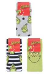 Mens and Ladies SockShop 3 Pair Grinch Cotton Socks Product Shot