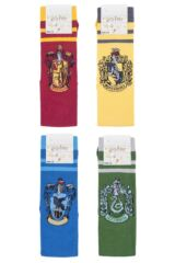 Ladies SockShop 4 Pair Harry Potter House Badges Cotton Knee High Socks Packaging Image