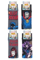 Mens SockShop 4 Pair Marvel Hawkeye, Black Widow, Black Panther and Doctor Strange Cotton Socks Packaging Image