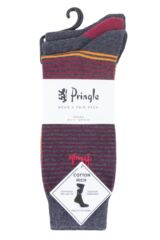 Mens 3 Pair Pringle Mixed Stripe and Plain Cotton Socks Packaging Image