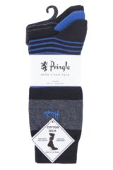 Mens 3 Pair Pringle Small Stripe and Plain Cotton Socks Packaging Image