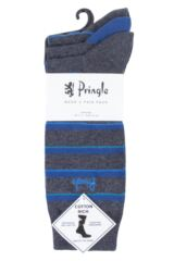 Mens 3 Pair Pringle Fine Stripe and Plain Cotton Socks Packaging Image