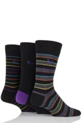 Mens 3 Pair Pringle Rosewell Double Bright Stripe Cotton Socks