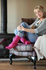 Ladies 1 Pair SockShop Two Tone Striped Heat Holders Thermal Socks