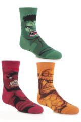 Boys 3 Pair Marvel Heroes Socks - Hulk, Juggernaut and Thing