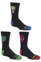 Boys 3 Pairs Marvel Heroes Sports Socks - Hulk, Spider-Man and Wolverine