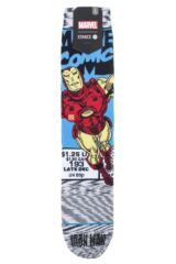 Mens 1 Pair Stance Marvel Iron Man Comic Cotton Blend Socks Packaging Image