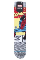 Mens 1 Pair Stance Marvel Spiderman Comic Cotton Blend Socks Packaging Image
